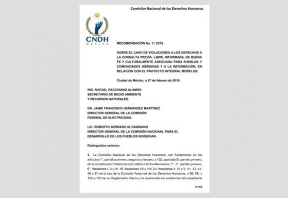 Gasoducto Morelos: La CNDH recomienda revisar el proyecto