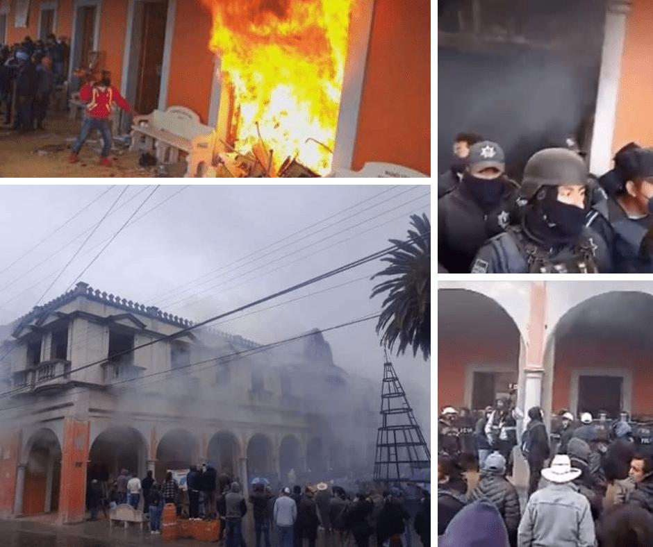 Prenden fuego a la alcaldía de Chignautla en protesta por la municipalización del agua potable